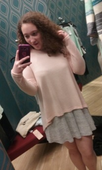 The same gray dress with a light/pastel pink sweater thrown over it. Perfect for chilly mornings and school dress codes!