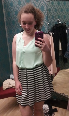 I love this black-and-white-striped skater-style skirt! You can never have too many skirts for springtime. The mint green tank gives this look just enough color (and the straps are wide enough to comply with most schools dress codes!).